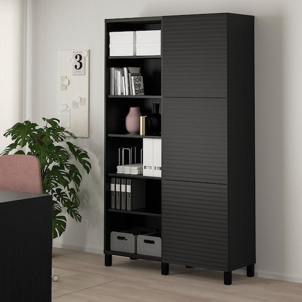 BESTÅ Storage combination with doors, black-brown/Stockviken/Stubbarp anthracite, 120x42x202 cm