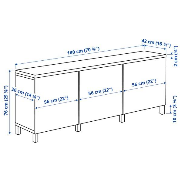 BESTÅ Storage combination with doors, black/Lappviken/Stubbarp black, 180x42x76 cm