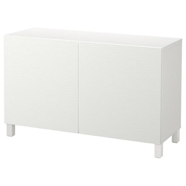 BESTÅ Storage combination with doors, white/Laxviken/Stubbarp white, 120x42x74 cm