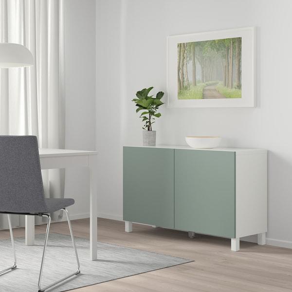 BESTÅ Storage combination with doors, white/Notviken/Stubbarp grey-green, 120x42x74 cm