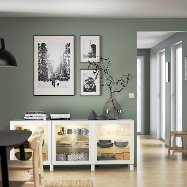 BESTÅ Storage combination with doors, white/Sindvik/Stubbarp white clear glass, 180x42x74 cm