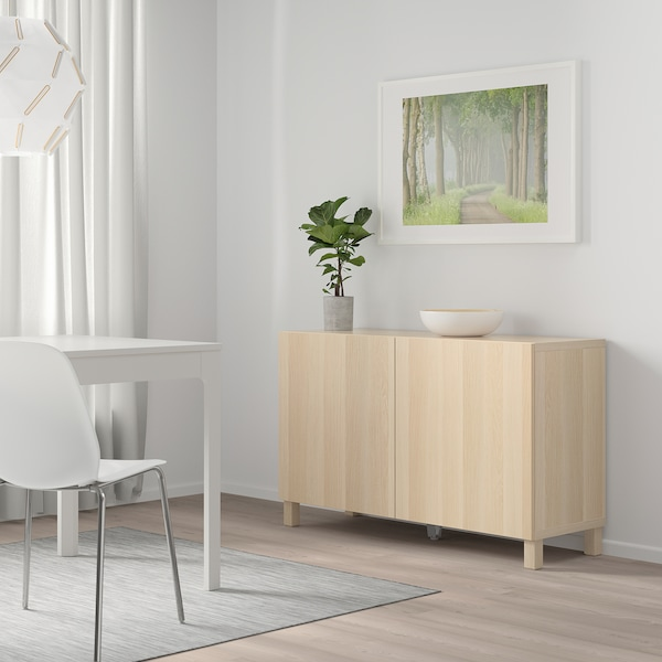 BESTÅ Storage combination with doors, white stained oak effect/Lappviken/Stubbarp white stained oak effect, 120x42x74 cm