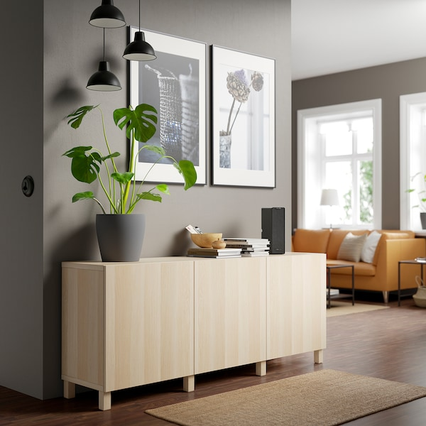 BESTÅ Storage combination with doors, white stained oak effect/Lappviken/Stubbarp white stained oak effect, 180x42x74 cm