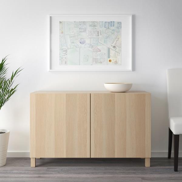 BESTÅ Storage combination with doors, white stained oak effect/Lappviken white stained oak effect, 120x40x74 cm