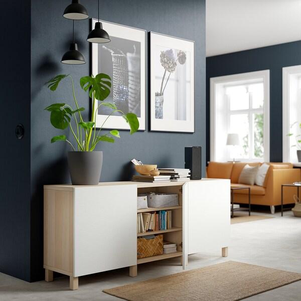 BESTÅ Storage combination with doors, white stained oak effect/Laxviken/Stubbarp white, 180x42x74 cm