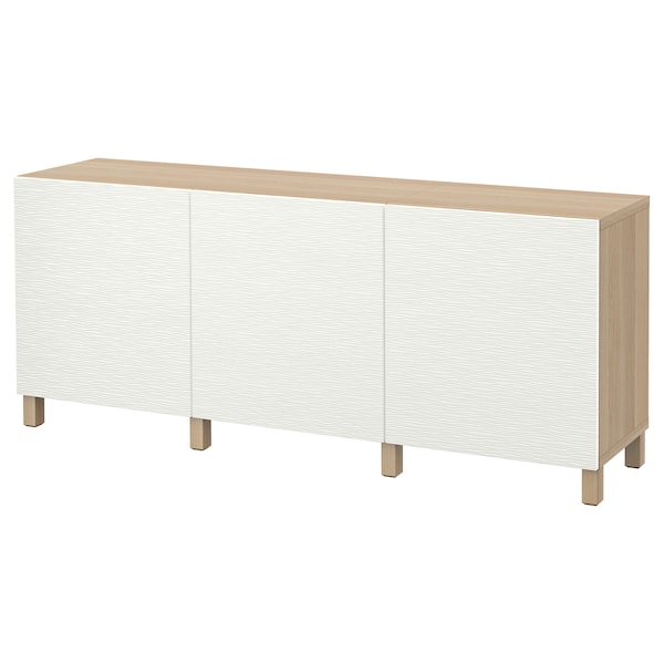 BESTÅ Storage combination with doors, white stained oak effect/Laxviken white, 180x40x74 cm