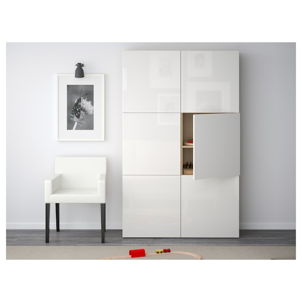 BESTÅ Storage combination with doors, white stained oak effect/Selsviken high-gloss/white, 120x40x192 cm
