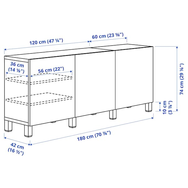 BESTÅ Storage combination with doors, white stained oak effect/Selsviken/Stubbarp high-gloss/white, 180x42x74 cm