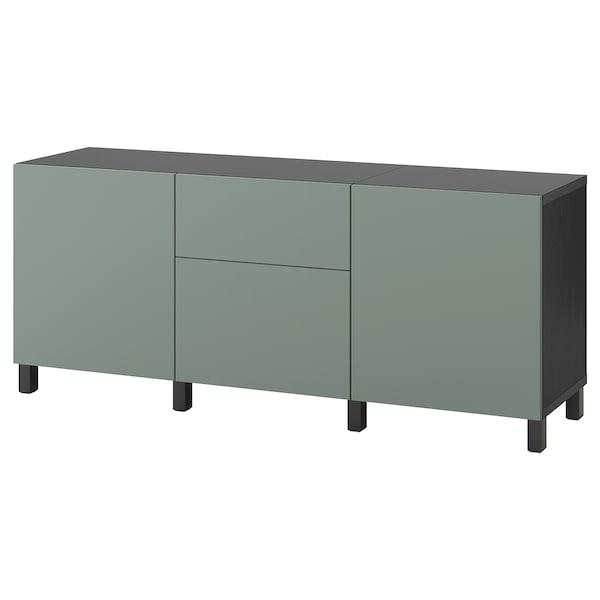 BESTÅ Storage combination with drawers, black-brown/Notviken/Stubbarp grey-green, 180x42x74 cm