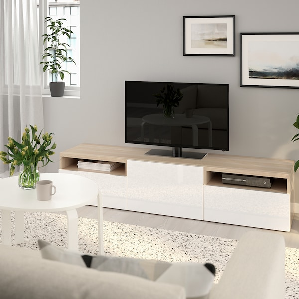 BESTÅ TV bench, white stained oak effect/Selsviken high-gloss/white, 180x42x39 cm