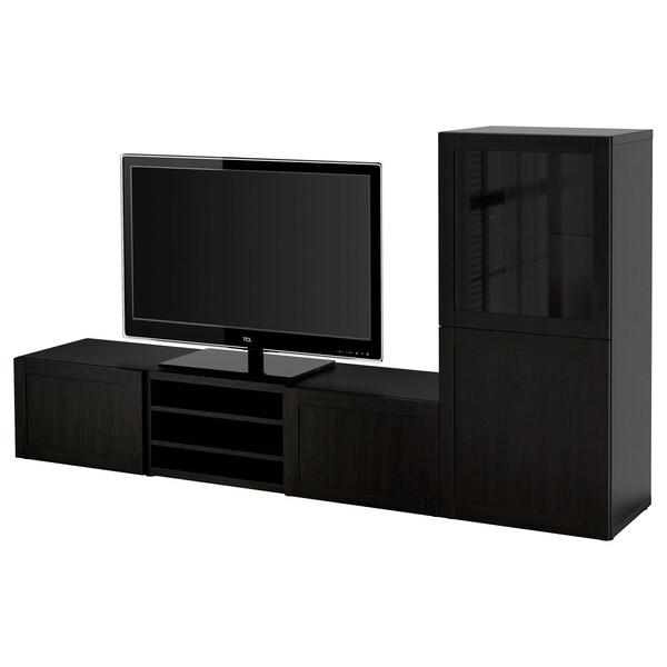 BESTÅ TV storage combination/glass doors, Hanviken black-brown clear glass, 240x40x128 cm