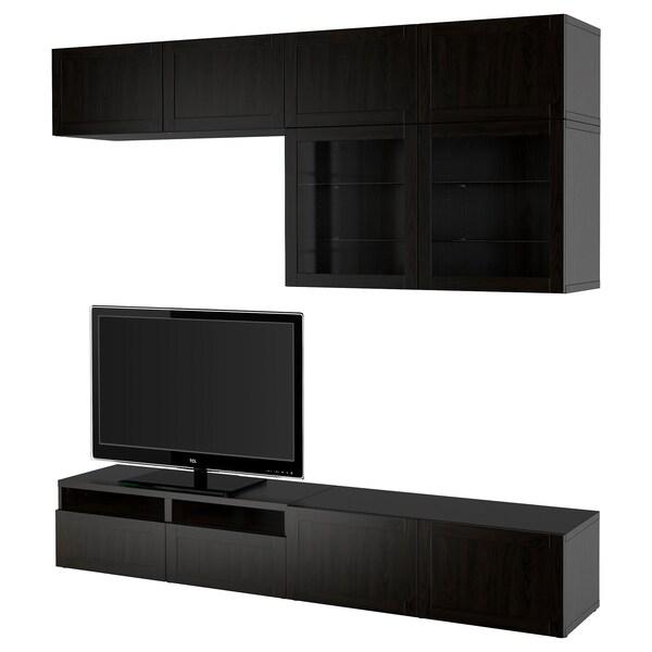 BESTÅ TV storage combination/glass doors, Hanviken black-brown clear glass, 240x40x230 cm