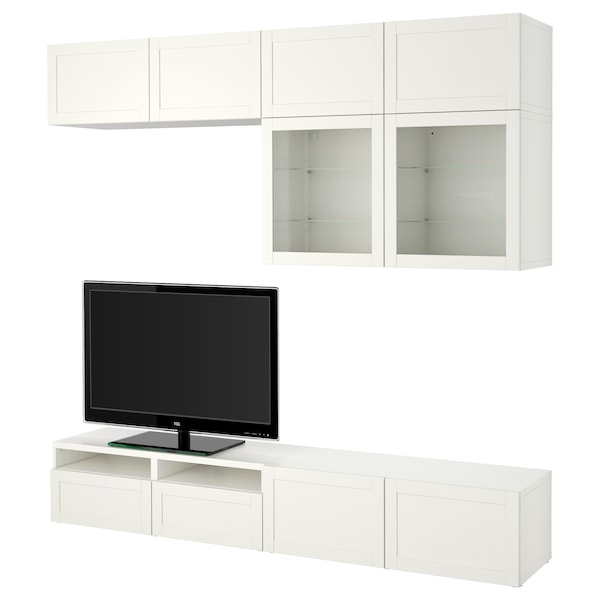 BESTÅ TV storage combination/glass doors, Hanviken white clear glass, 240x40x230 cm
