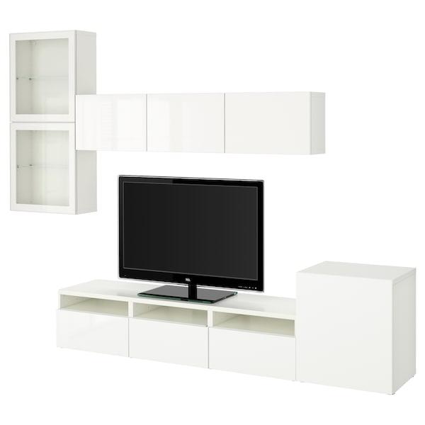 BESTÅ TV storage combination/glass doors, white/Selsviken high-gloss/white clear glass, 300x20/40x211 cm