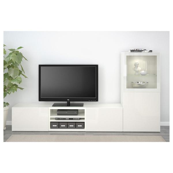 BESTÅ TV storage combination/glass doors, white/Selsviken high-gloss/white clear glass, 240x42x129 cm