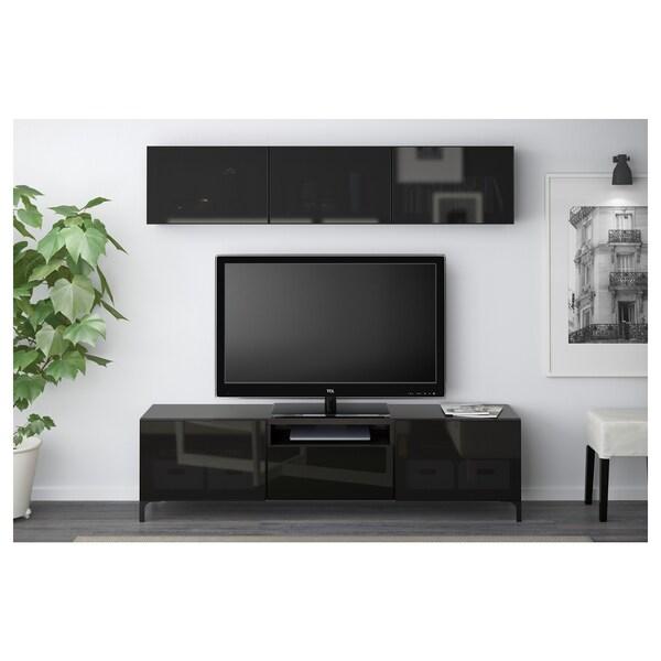 BESTÅ TV storage combination/glass doors black-brown/Selsviken high-gloss/black smoked glass 180 cm 166 cm 20 cm 40 cm