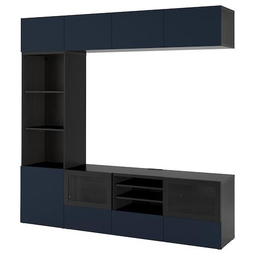 BESTÅ TV storage combination/glass doors black-brown/Notviken blue clear glass 240 cm 42 cm 230 cm