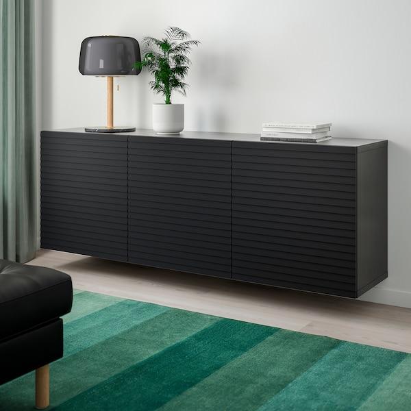 BESTÅ Wall-mounted cabinet combination, black-brown/Stockviken anthracite, 180x42x64 cm