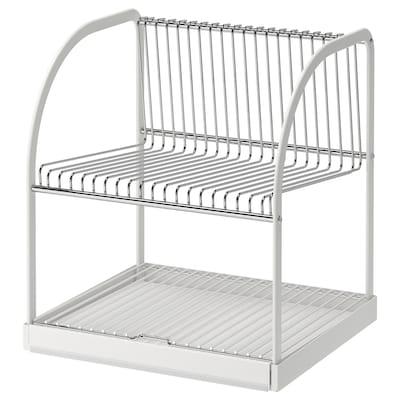 BESTÅENDE Dish drainer, silver-colour/white, 32x29x36 cm