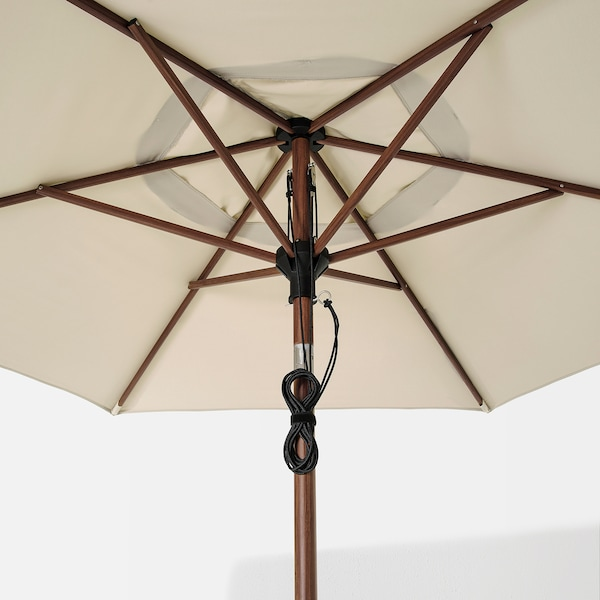 BETSÖ / LINDÖJA Parasol, brown wood effect/beige, 300 cm
