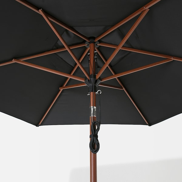 BETSÖ / LINDÖJA Parasol with base, brown wood effect black/Huvön, 300 cm