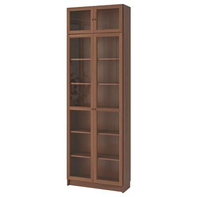 BILLY / OXBERG Bookcase, brown ash veneer, 80x30x237 cm