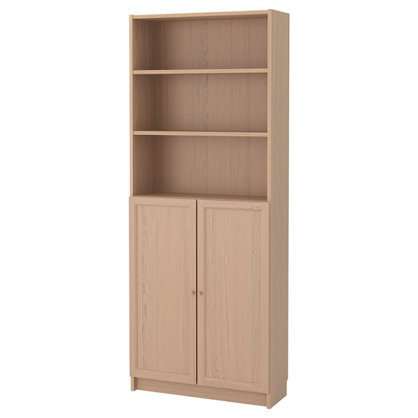 BILLY / OXBERG Bookcase with doors, white stained oak veneer, 80x30x202 cm