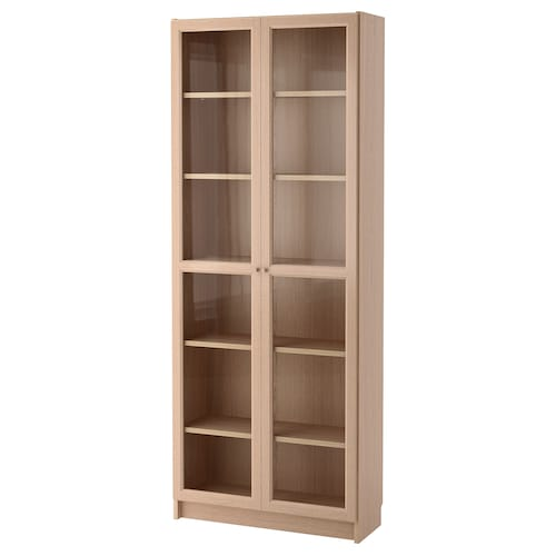 BILLY / OXBERG bookcase with glass door white stained oak veneer/glass 80 cm 30 cm 202 cm 30 kg