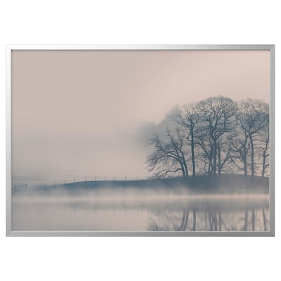 BJÖRKSTA Picture with frame, Misty landscape/aluminium-colour, 140x100 cm