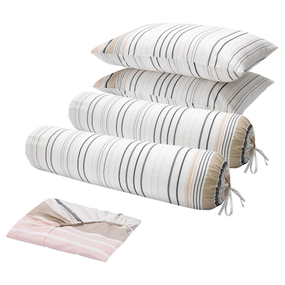 BLÅRIPS 5-piece bedlinen set, pink, King