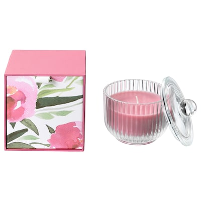 BLOMDOFT Scented candle in glass, Peony/pink, 9 cm