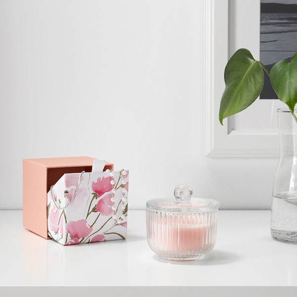 BLOMDOFT Scented candle in glass, Sweet pea/light orange, 9 cm