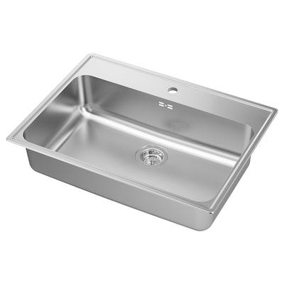 BOHOLMEN Inset sink, 1 bowl, stainless steel, 76x55 cm