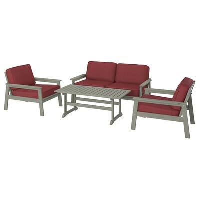 BONDHOLMEN 4-seat conversation set, outdoor, grey stained/Järpön/Duvholmen brown-red