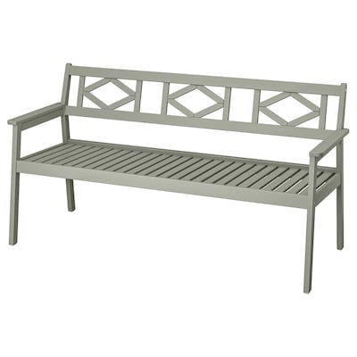 BONDHOLMEN Bench with backrest, outdoor, grey