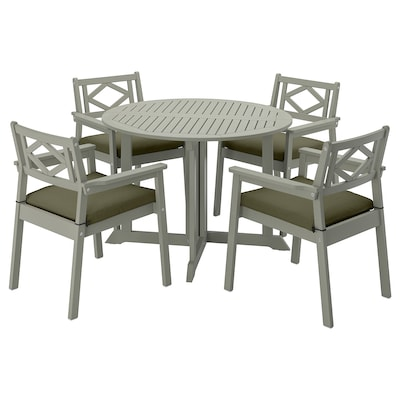 BONDHOLMEN Table+4 chairs w armrests, outdoor, grey stained/Frösön/Duvholmen dark beige-green