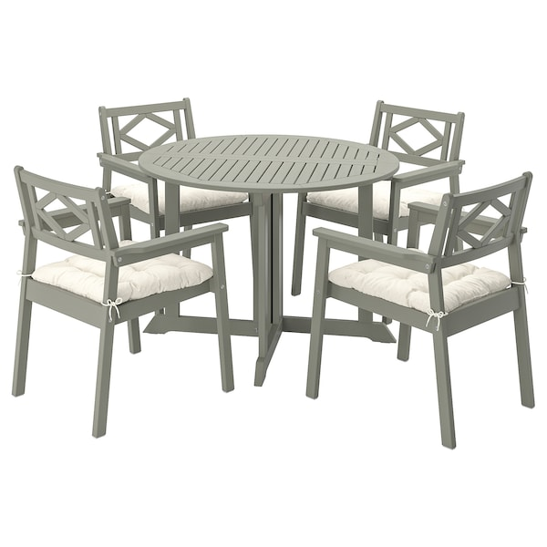 BONDHOLMEN table+4 chairs w armrests, outdoor grey stained/Kuddarna beige