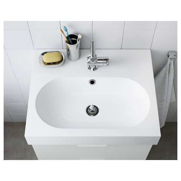 BRÅVIKEN Single wash-basin, white, 61x49x10 cm