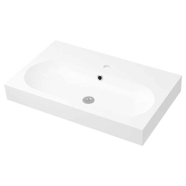 BRÅVIKEN Single wash-basin, white, 80x48x10 cm