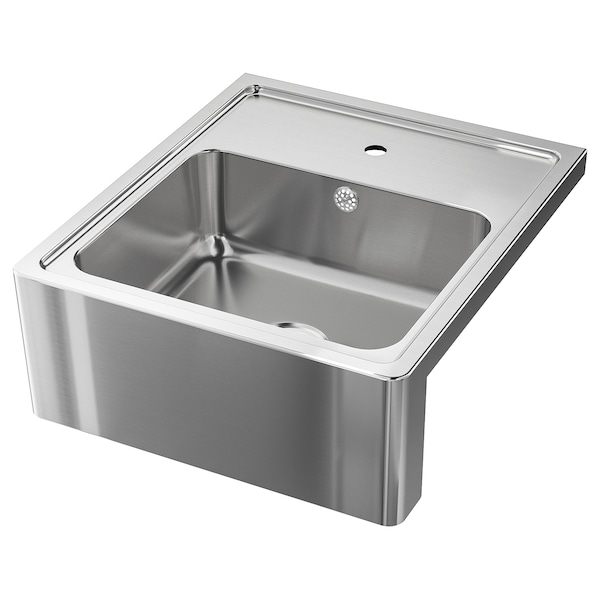 BREDSJÖN Sink bowl w visible front, stainless steel, 60x69 cm