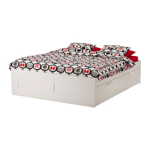BRIMNES Bed frame with storage   The four drawers in the bed frame gives you lots of storage space.