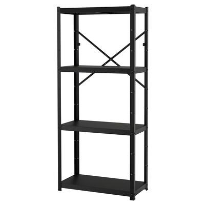 BROR 1 section/shelves, black, 85x40x190 cm