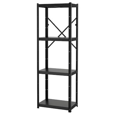 BROR 1 section/shelves, black, 65x40x190 cm