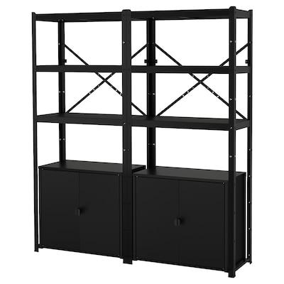 BROR 2 sections/shelves/cabinet, black, 170x40x190 cm