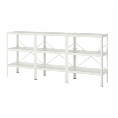 BROR 3 sections/shelves, white, 254x40x110 cm