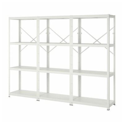 BROR 3 sections/shelves, white, 254x40x190 cm