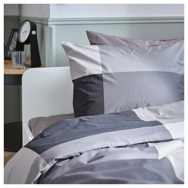 BRUNKRISSLA Quilt cover and 2 pillowcases, black, 200x200/50x80 cm