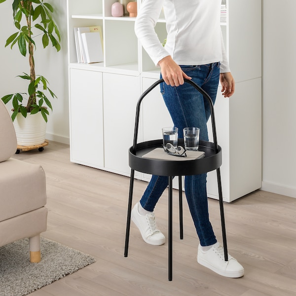 BURVIK Side table, black, 38 cm