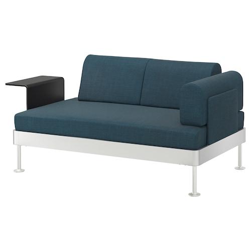 DELAKTIG 2-seat sofa with side table Hillared dark blue 79 cm 169 cm 84 cm 45 cm 20 cm 145 cm 80 cm 45 cm