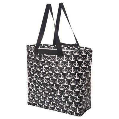 DRICKSA Carrier bag, medium, white/black, 36 l